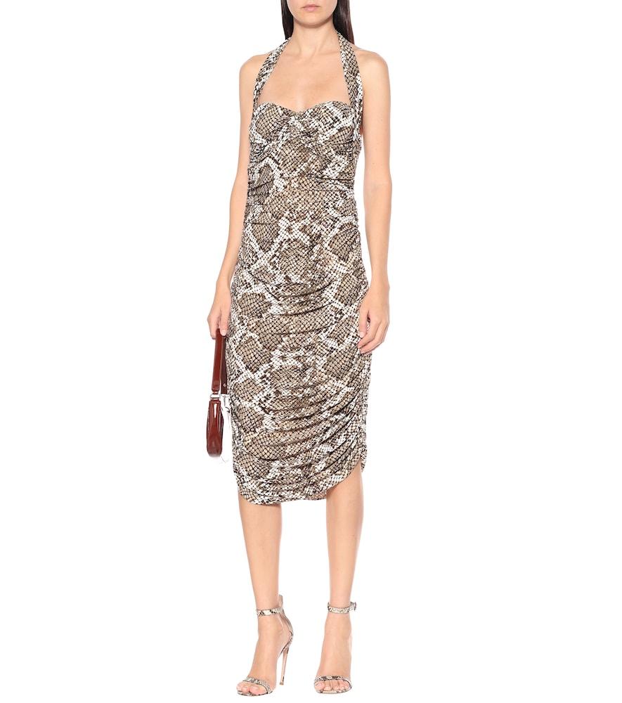 Exclusive to Mytheresa - Bill snake-print jersey halter dress by Norma Kamali