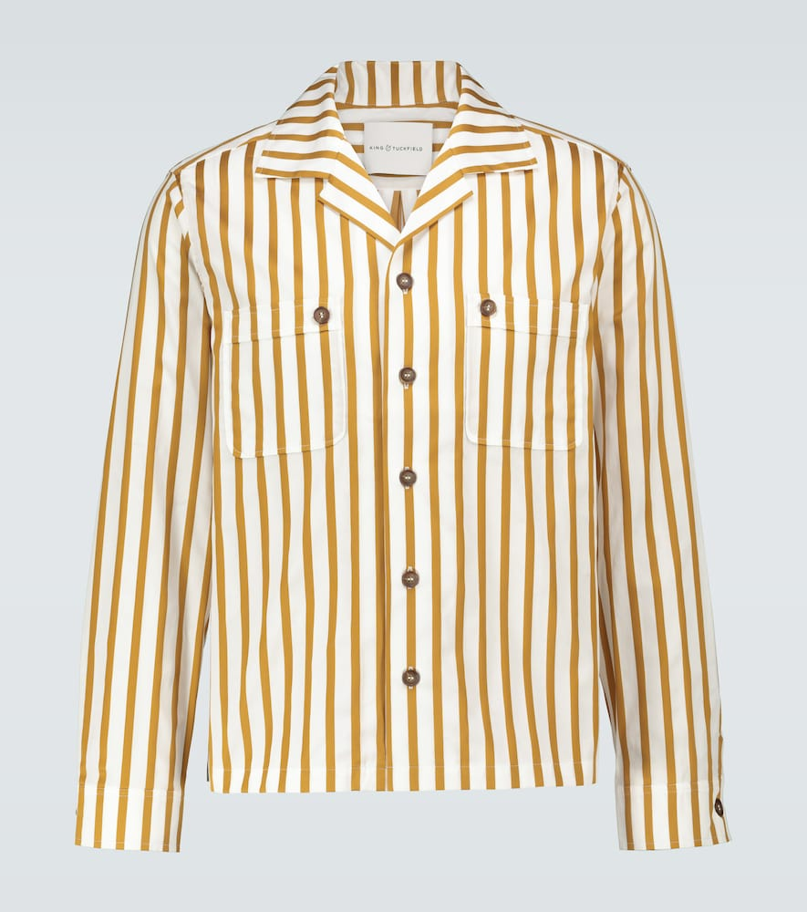 Camp-collar long-sleeved shirt