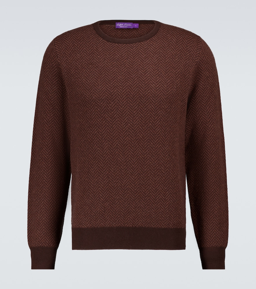 Ralph Lauren Cashmere Herringbone Sweater In Brown