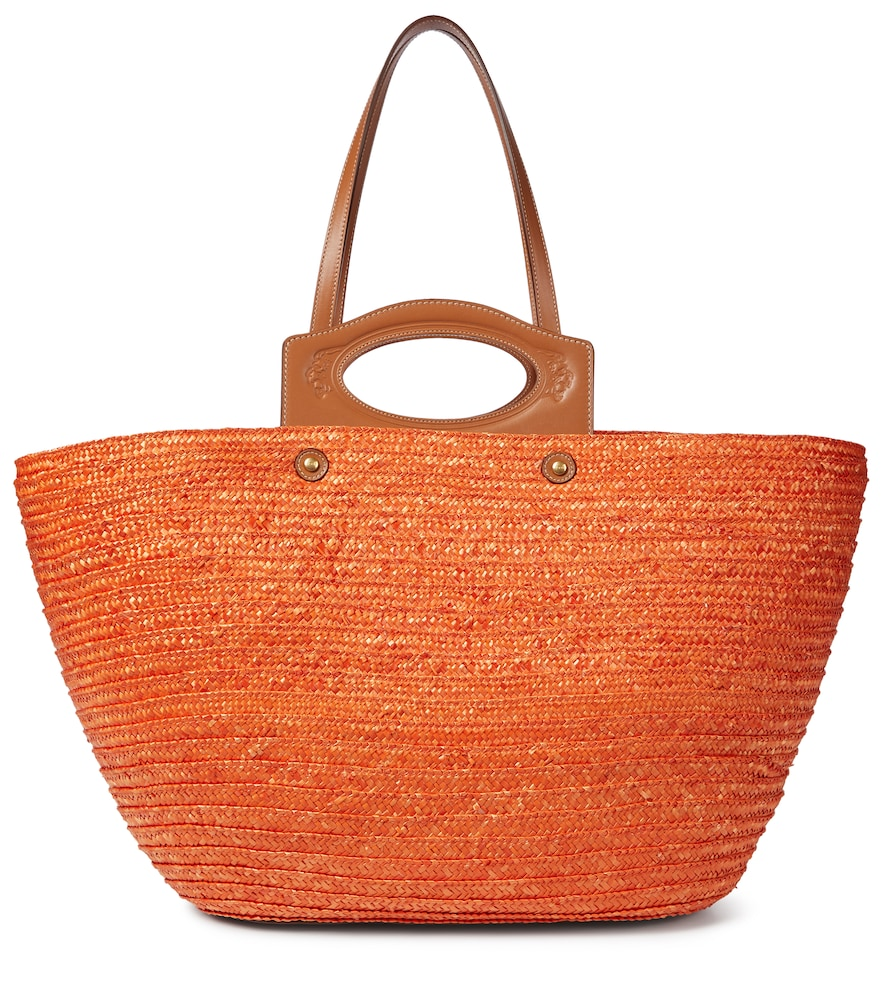 Tod's LEATHER-TRIMMED STRAW TOTE