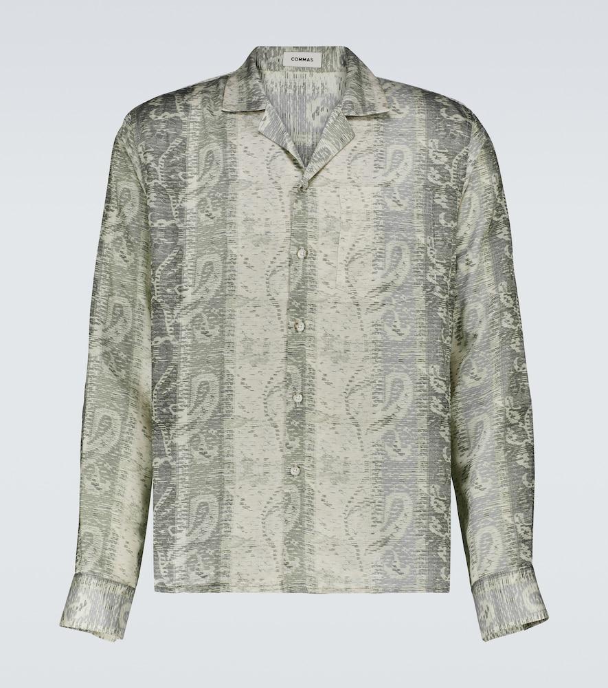 Long-sleeve silk-blend shirt