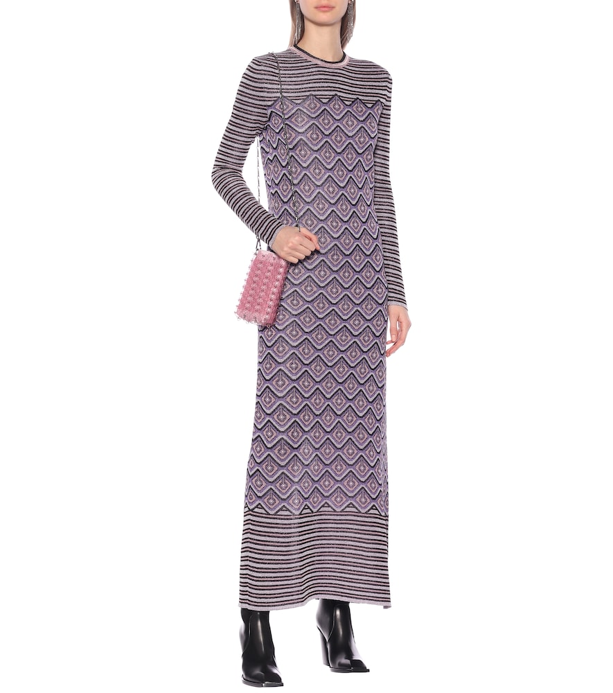 Printed stretch-knit midi dress by Paco Rabanne