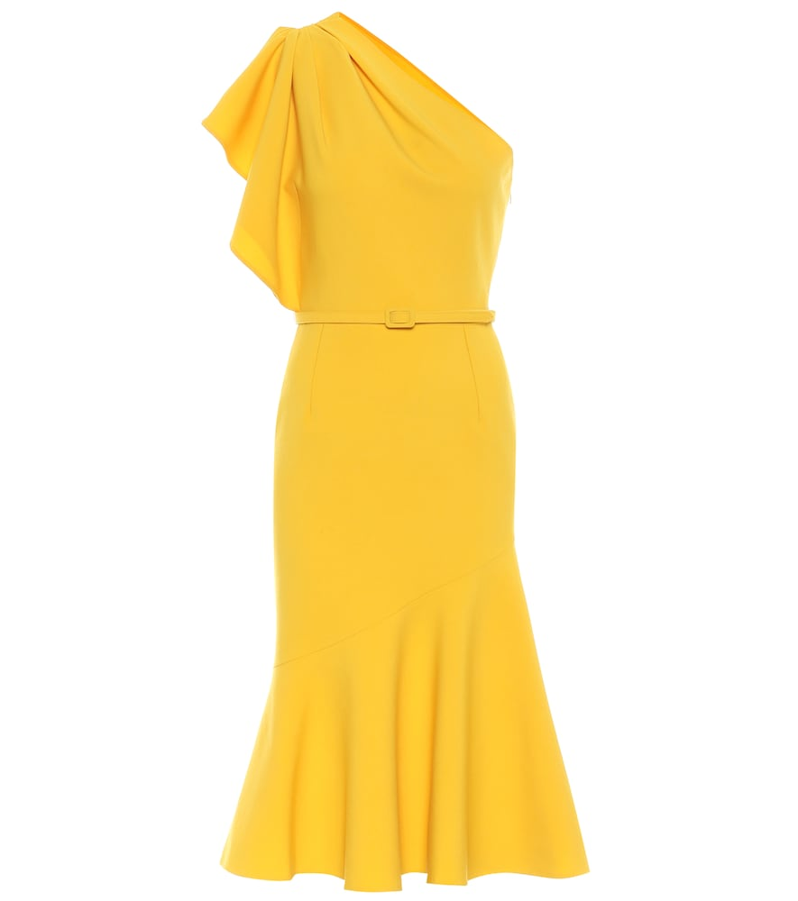 Wool-blend cr?e midi dress by Oscar de la Renta