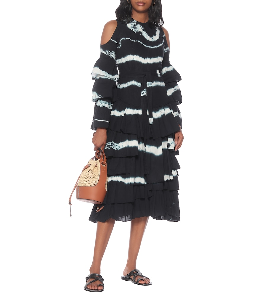 Tie-dye cotton and linen maxi dress by Loewe