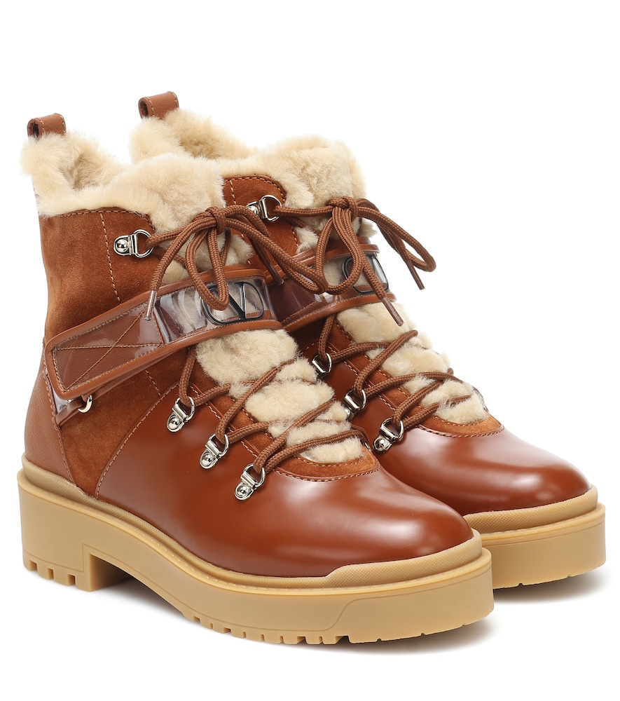 VALENTINO TREKKGIRL SHEARLING-TRIMMED LEATHER ANKLE BOOTS