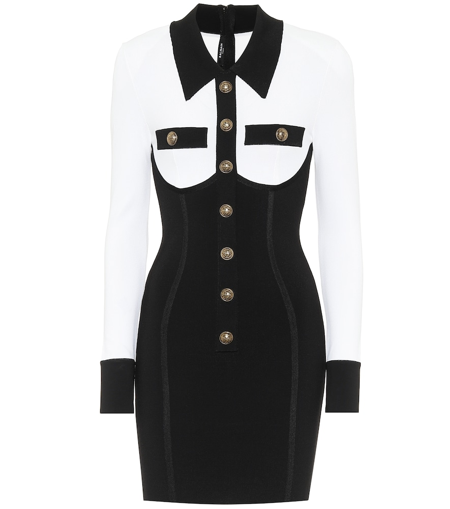 Balmain Button-embellished Two-tone Stretch-knit Mini Dress In Black