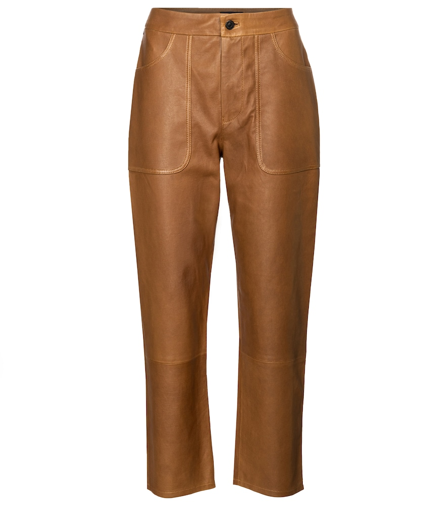Citizens Of Humanity EMMA HIGH-RISE LEATHER STRAIGHT JEANS