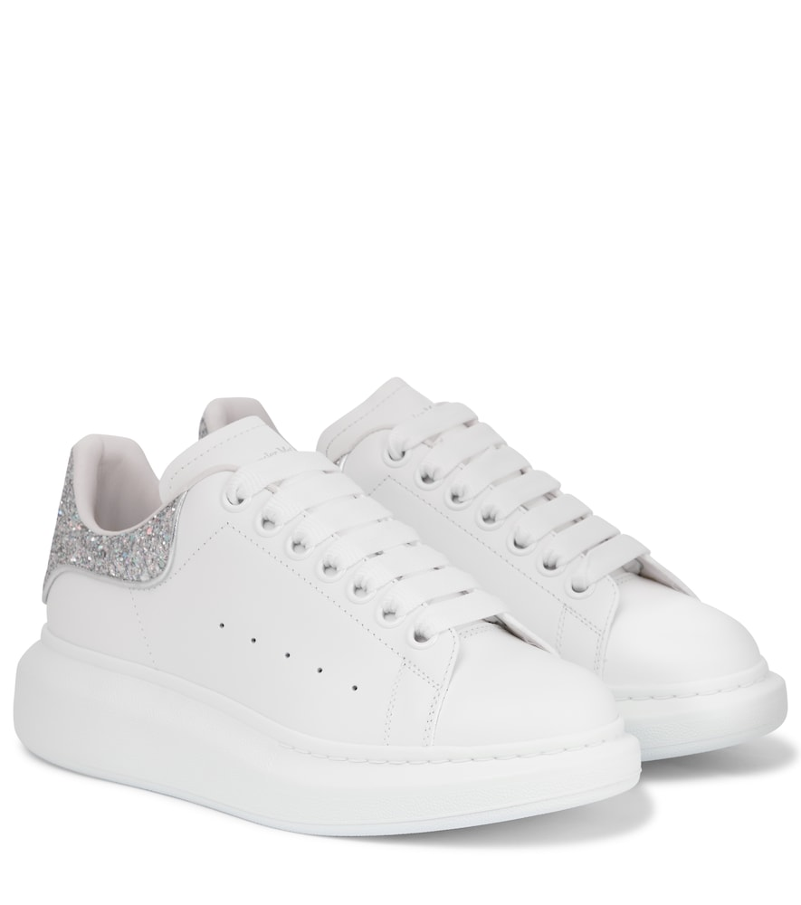 Glitter-trimmed leather sneakers