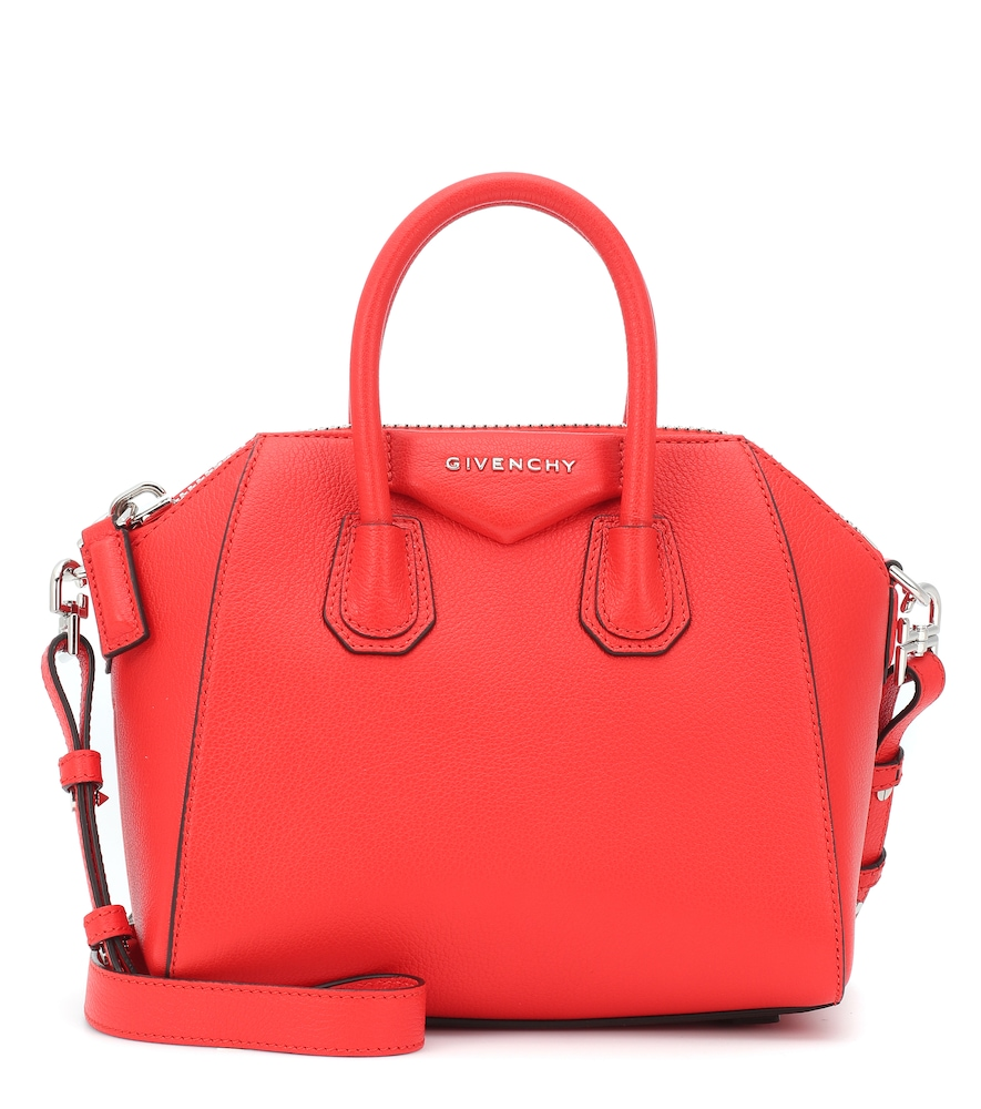 Givenchy  Mini Antigona  Sugar Leather Satchel - Red  6235f50325b6e