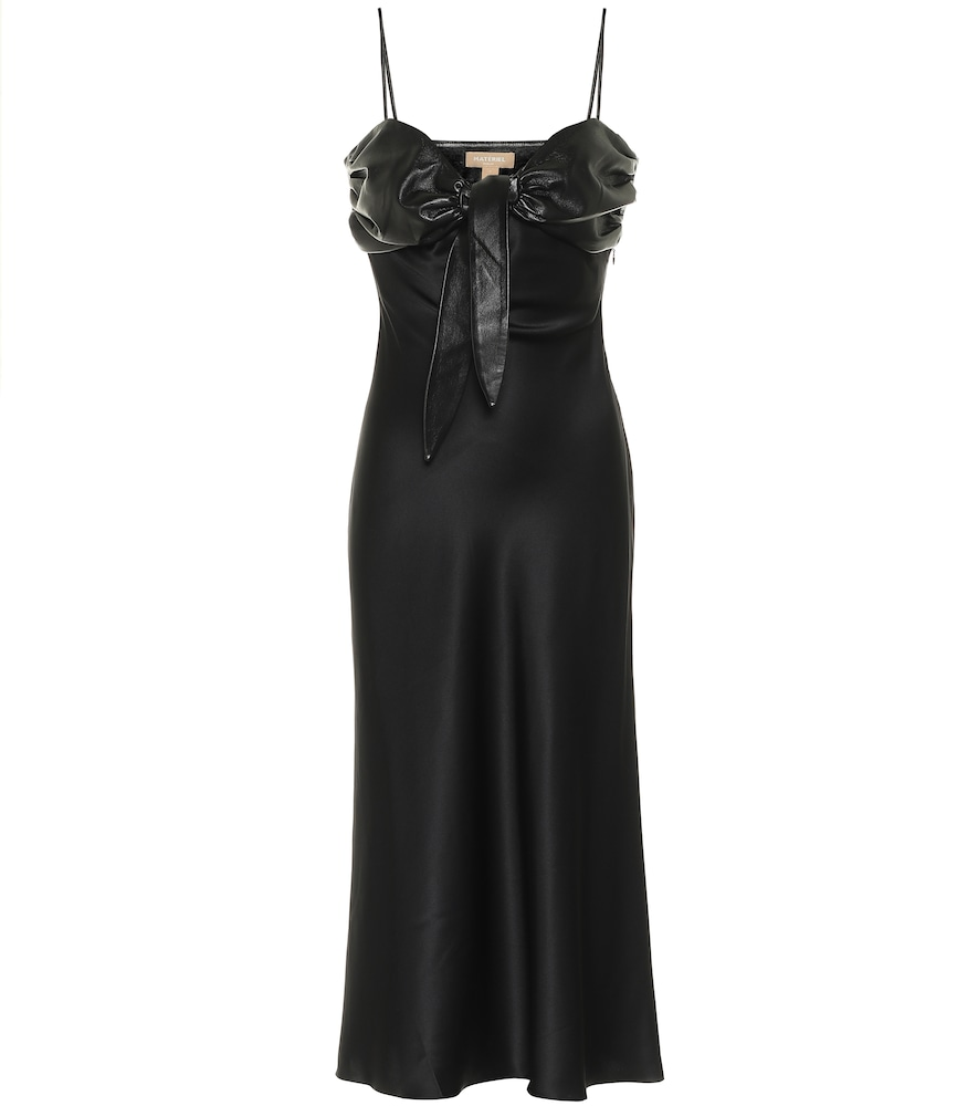 Faux leather-trimmed silk satin dress