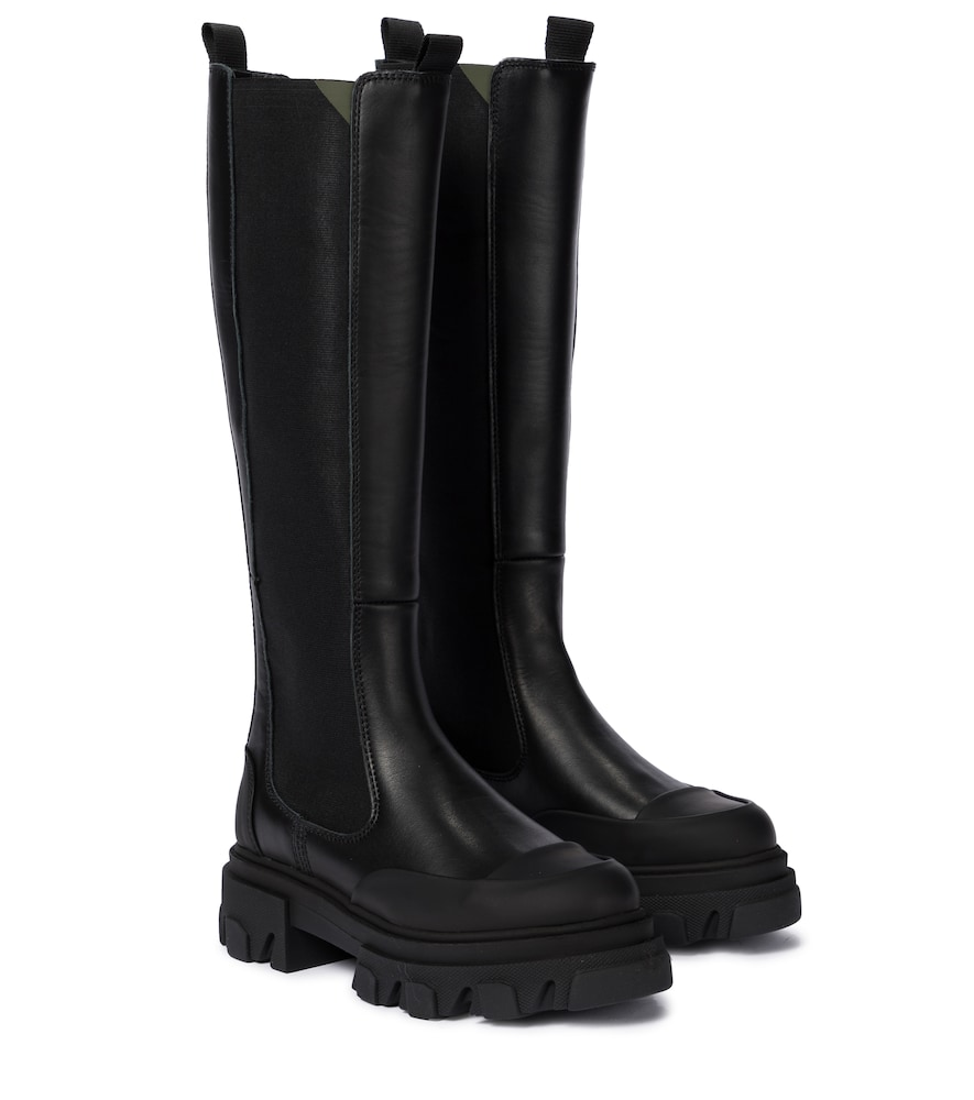 Ganni Exclusive To Mytheresa - Leather Knee-high Boots In Black