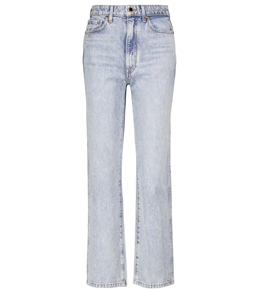 Khaite Women's Abigail Rigid High-rise Cropped Jeans In Blue
