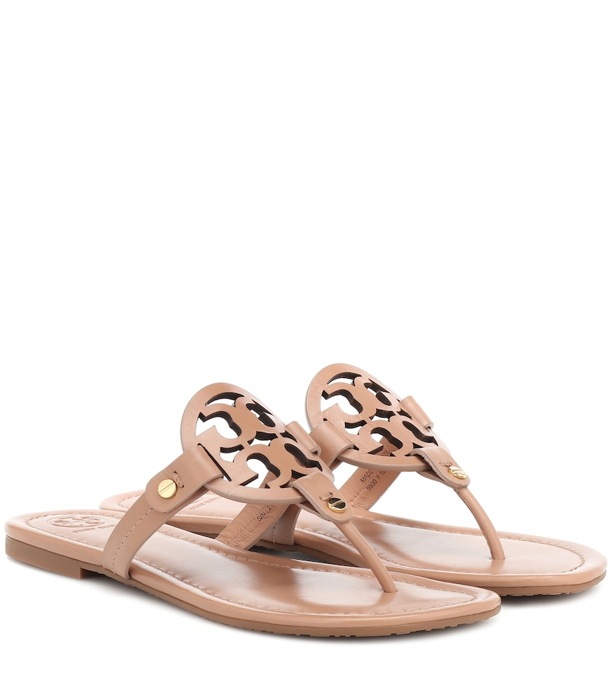 Miller Flat Leather Logo Slide Sandal in Brown