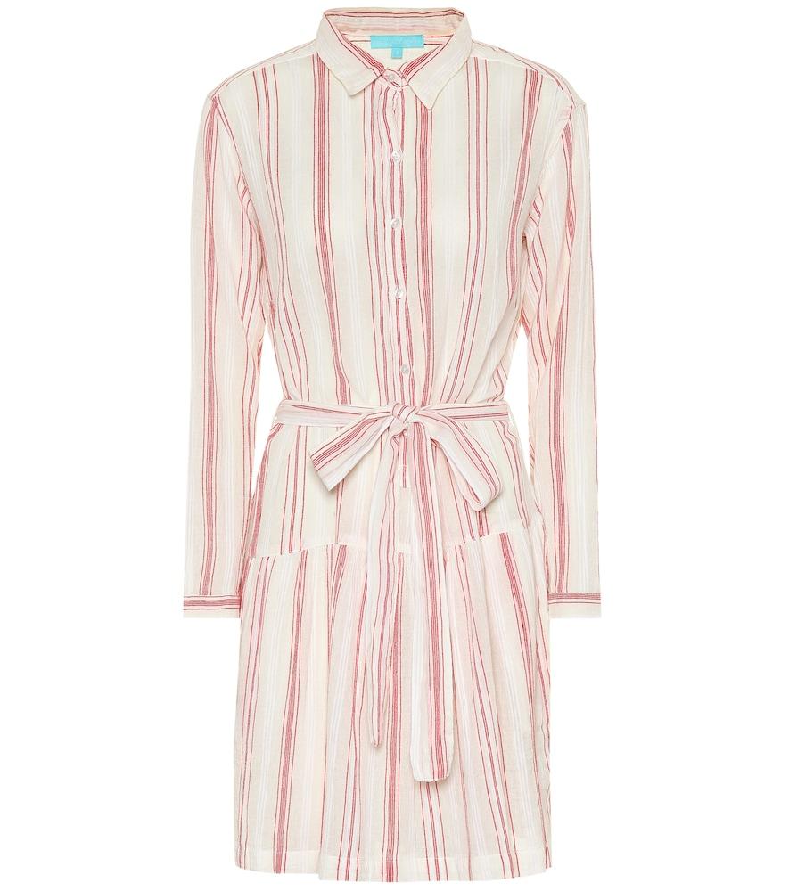 MELISSA ODABASH Amelia Striped Cotton Shirt Dress in Red