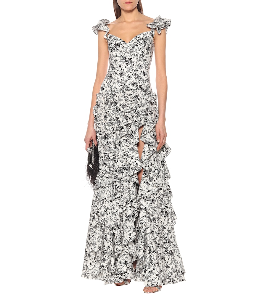 Ruffle floral stretch-cotton gown by Caroline Constas