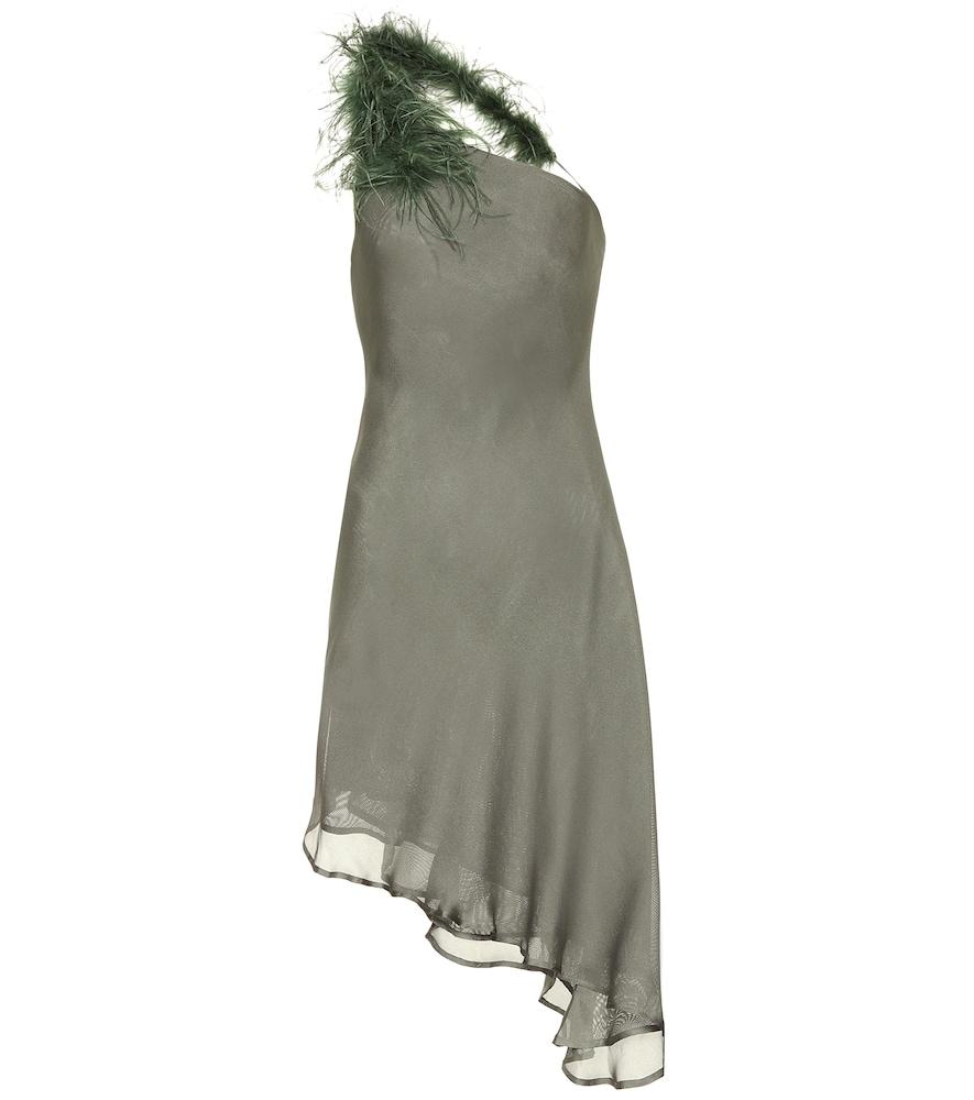 Robe asymétrique Flo en soie à plumes