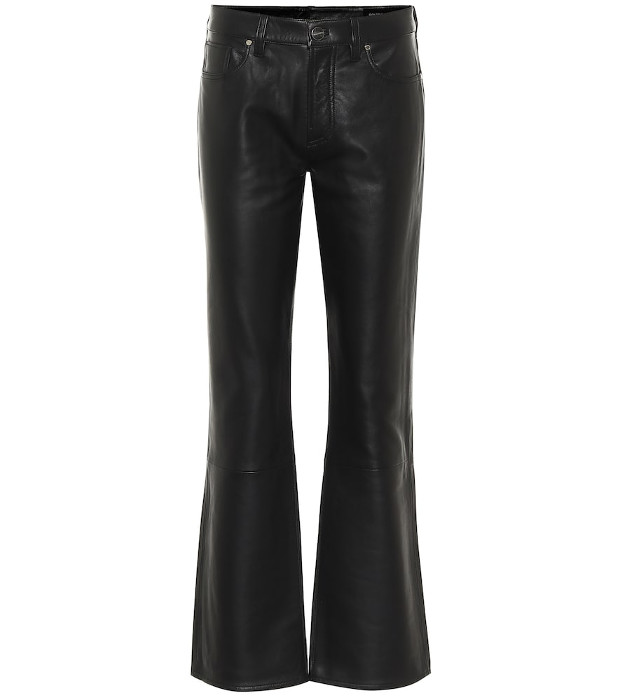 Mid-rise leather flared pants