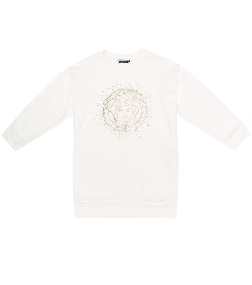 Versace Kids' Embellished Medusa Sweater Dress In White