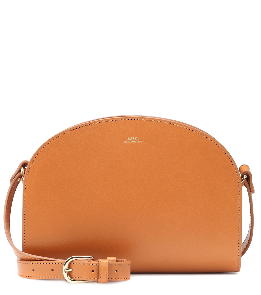 Demi-Lune Leather Shoulder Bag, Beige