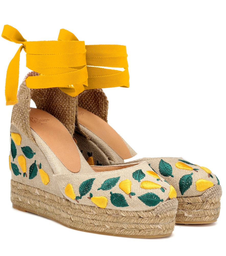Castañer CARINA EMBROIDERED WEDGE ESPADRILLES