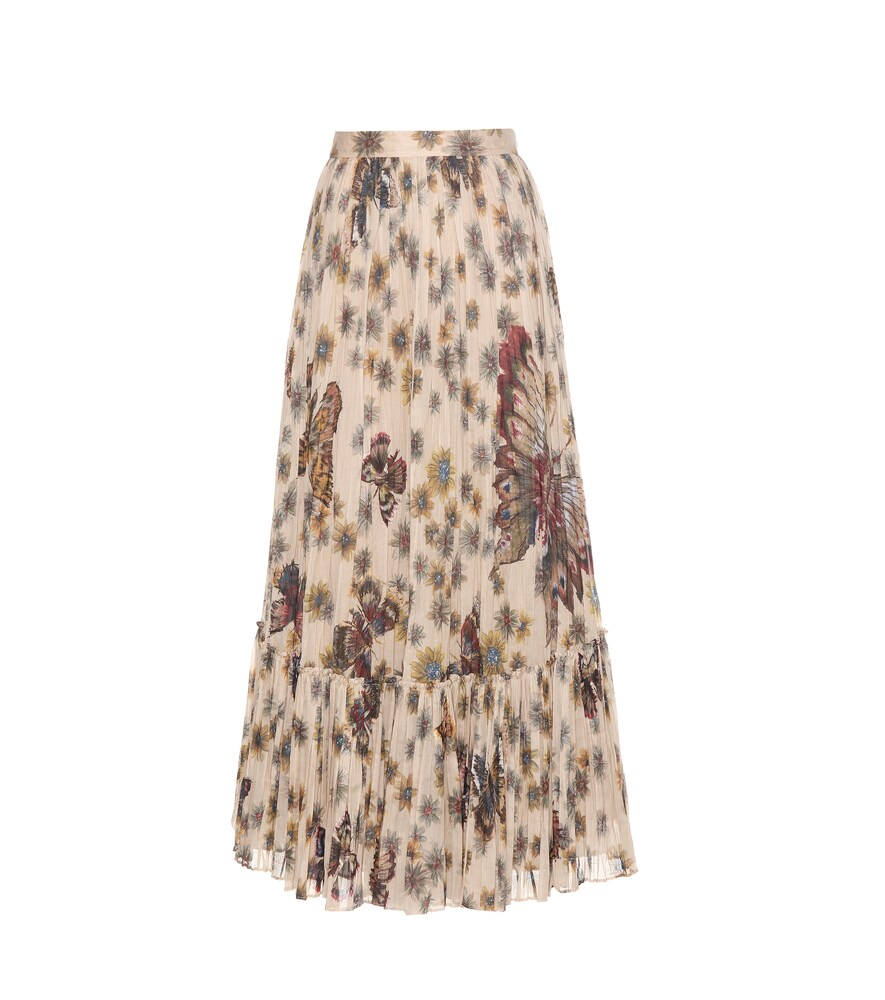 Printed pleated cotton maxi skirt