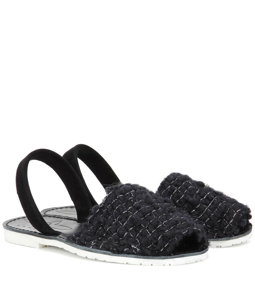 Sandales en daim et laine