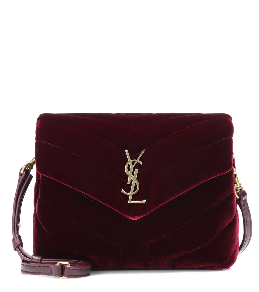 SAINT LAURENT TOY LOULOU VELVET SHOULDER BAG