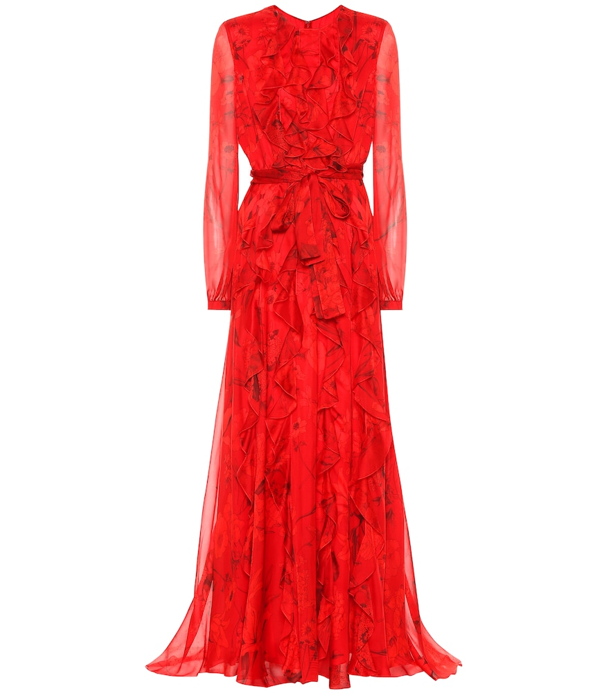 Valentino Chiffon Evening Dress With Overdyed Flower Print In Red