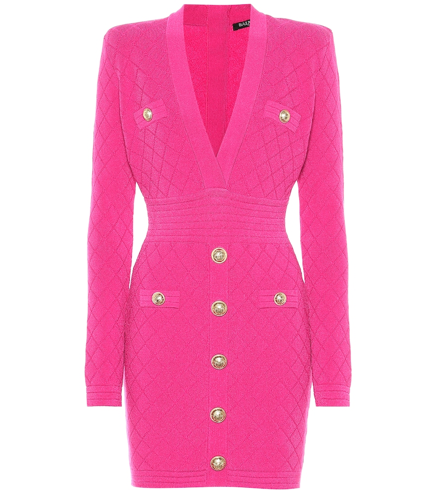 Balmain Button-Trim Long-Sleeve Fitted Mini Dress In Pink