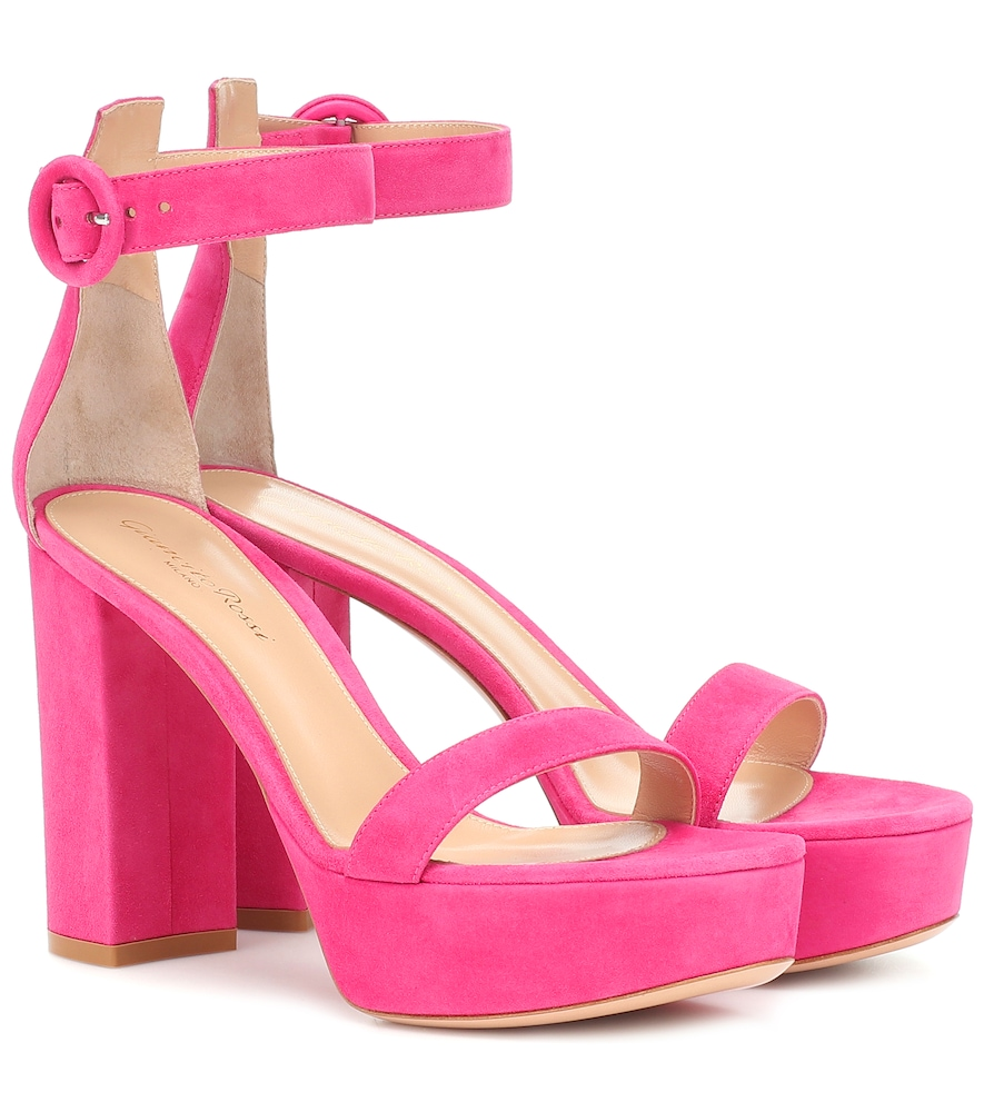 Gianvito Rossi Poppy 85 Suede Platform Sandals In Pink