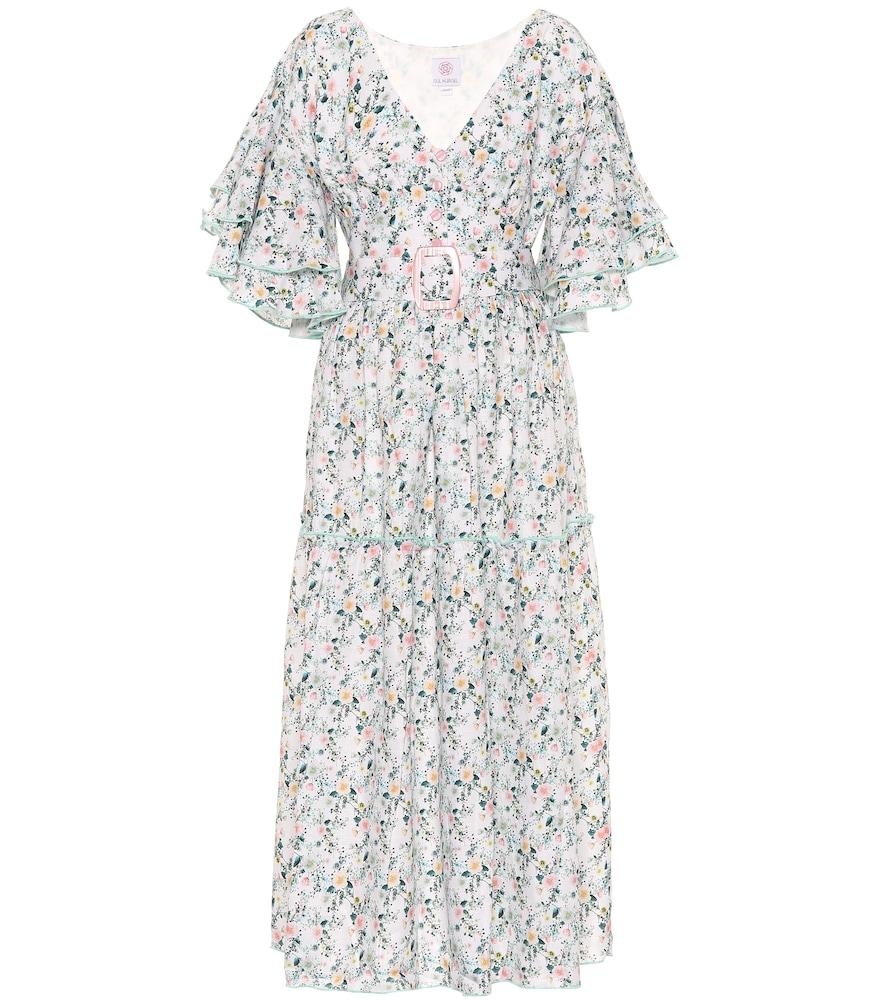 Robe longue imprimée en lin
