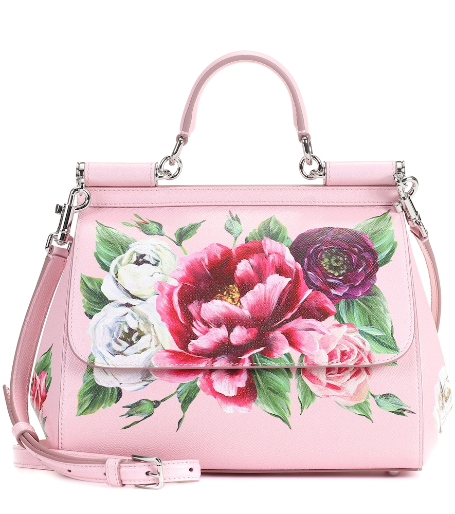 DOLCE AND GABBANA PINK MEDIUM PEONIES MISS SICILY BAG