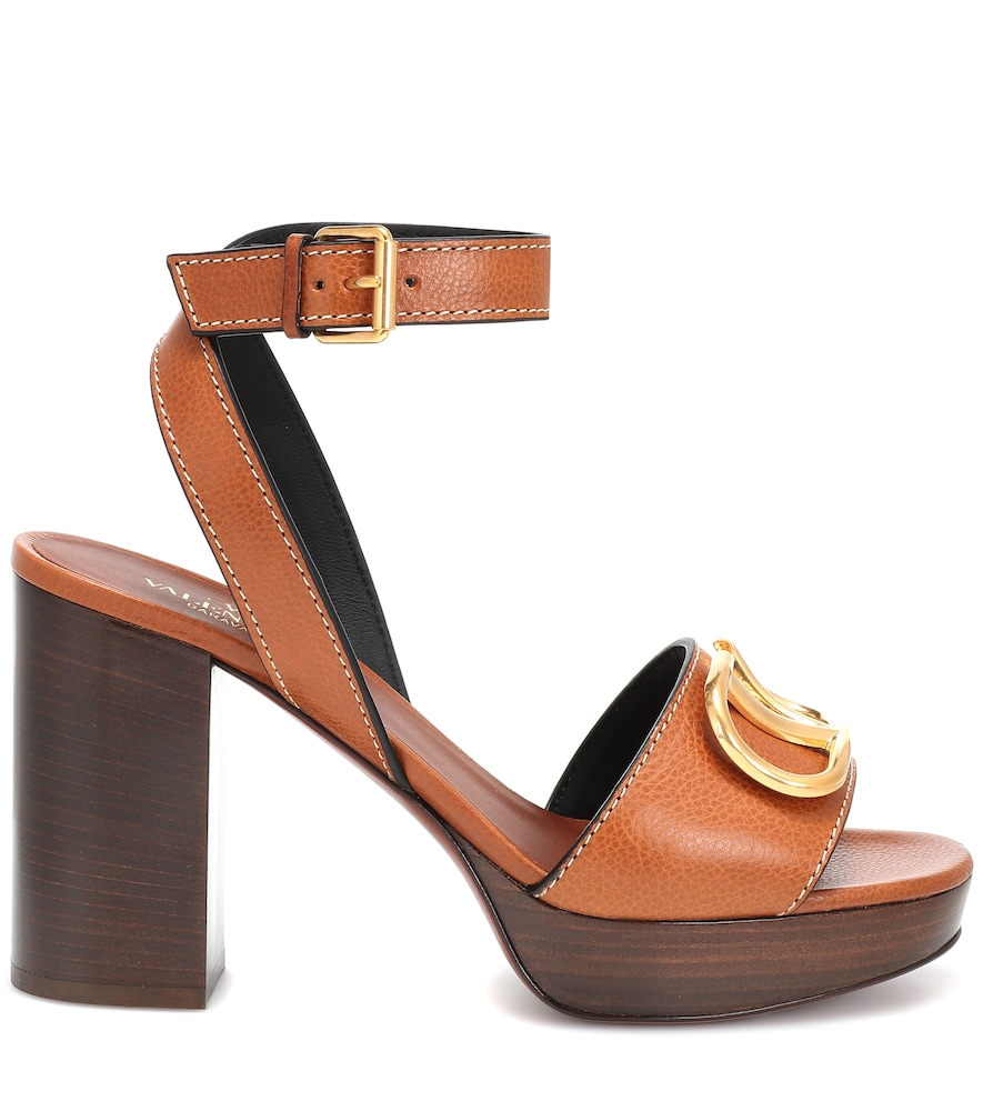72fb370f4e Valentino Grainy Cowhide Sandal With Vlogo Detail 100Mm In Brown ...