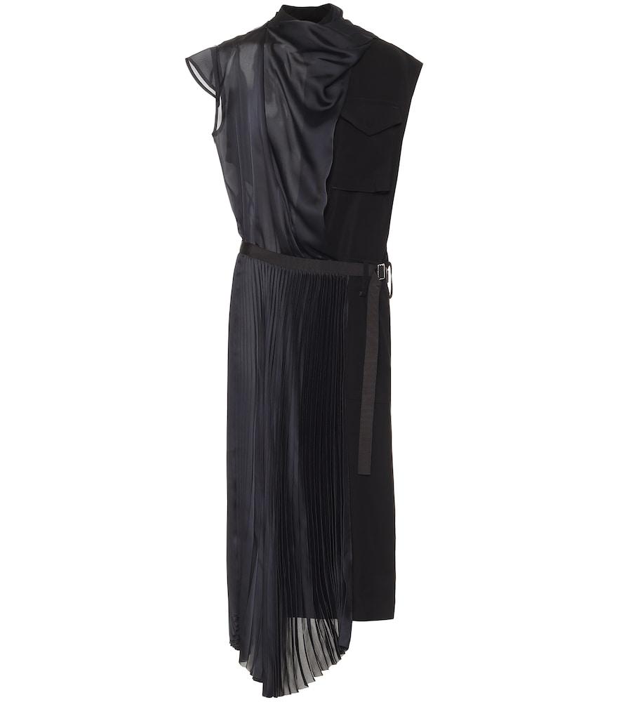 Satin belted midi dress