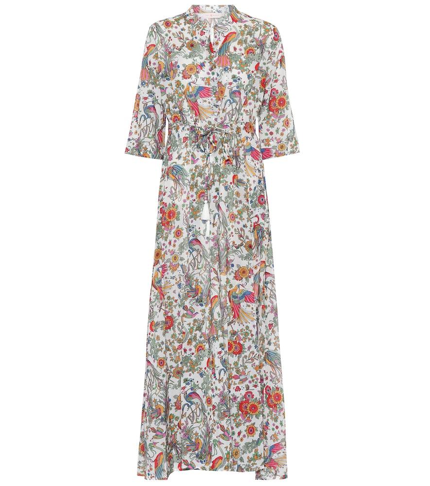 Robe chemise longue imprimée en coton