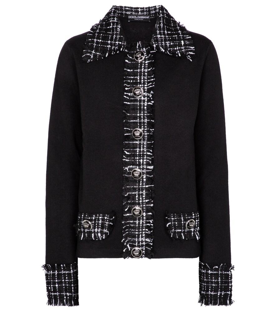 Dolce & Gabbana Tweed Detail Wool Jacket In Black