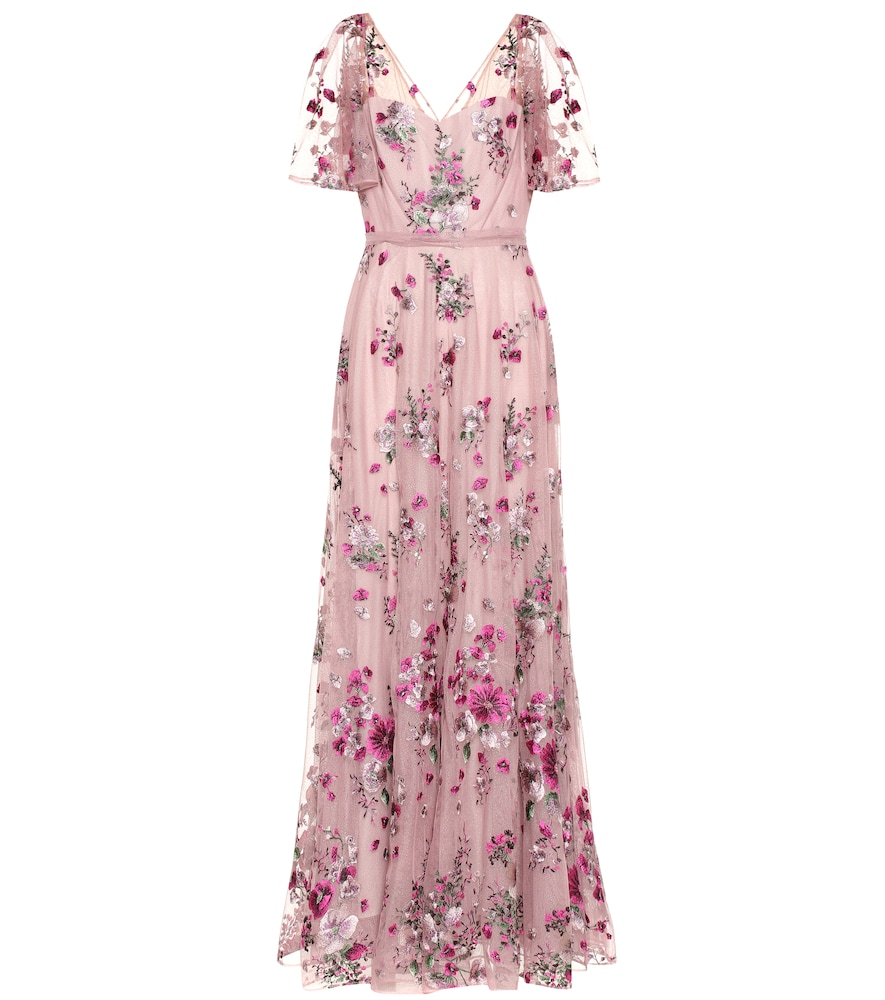Marchesa Notte FLORAL-EMBROIDERED TULLE GOWN