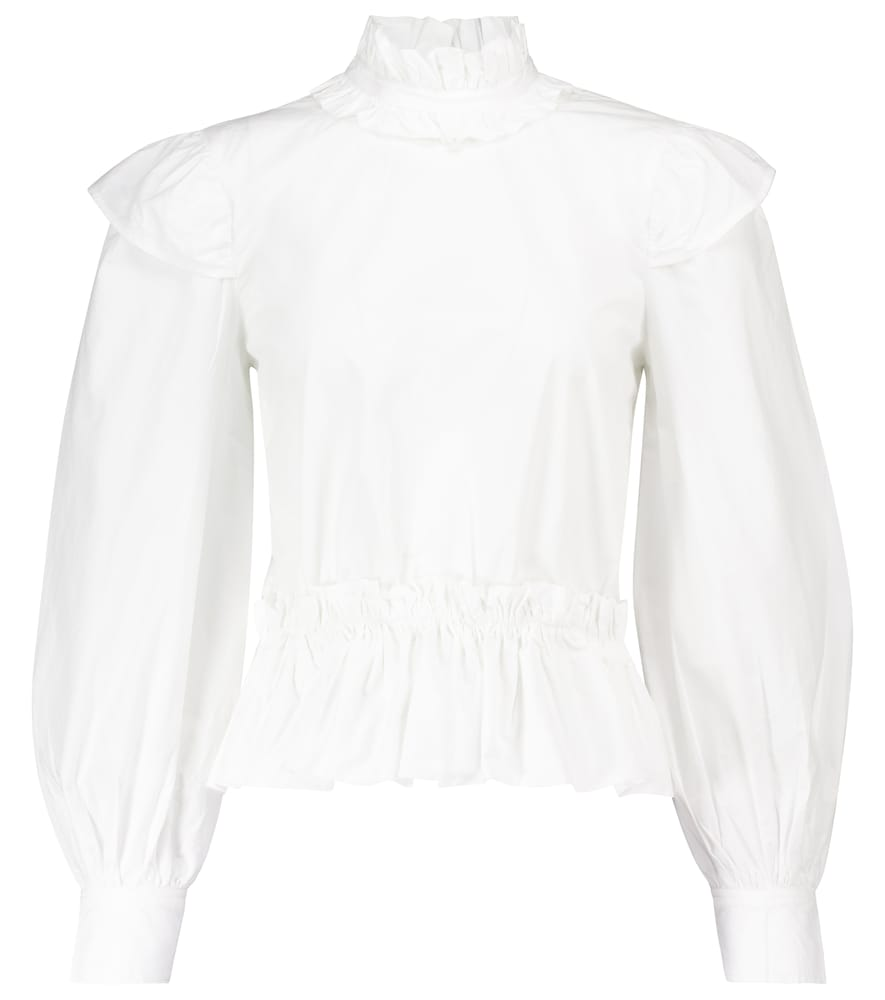 Ganni + Net Sustain Ruffled Organic Cotton-poplin Peplum Blouse In White