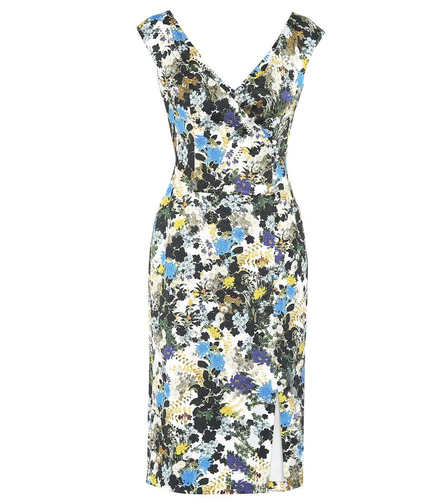 ERDEM Jyoti Floral-Print Cotton-Blend Jacquard Midi Dress in White
