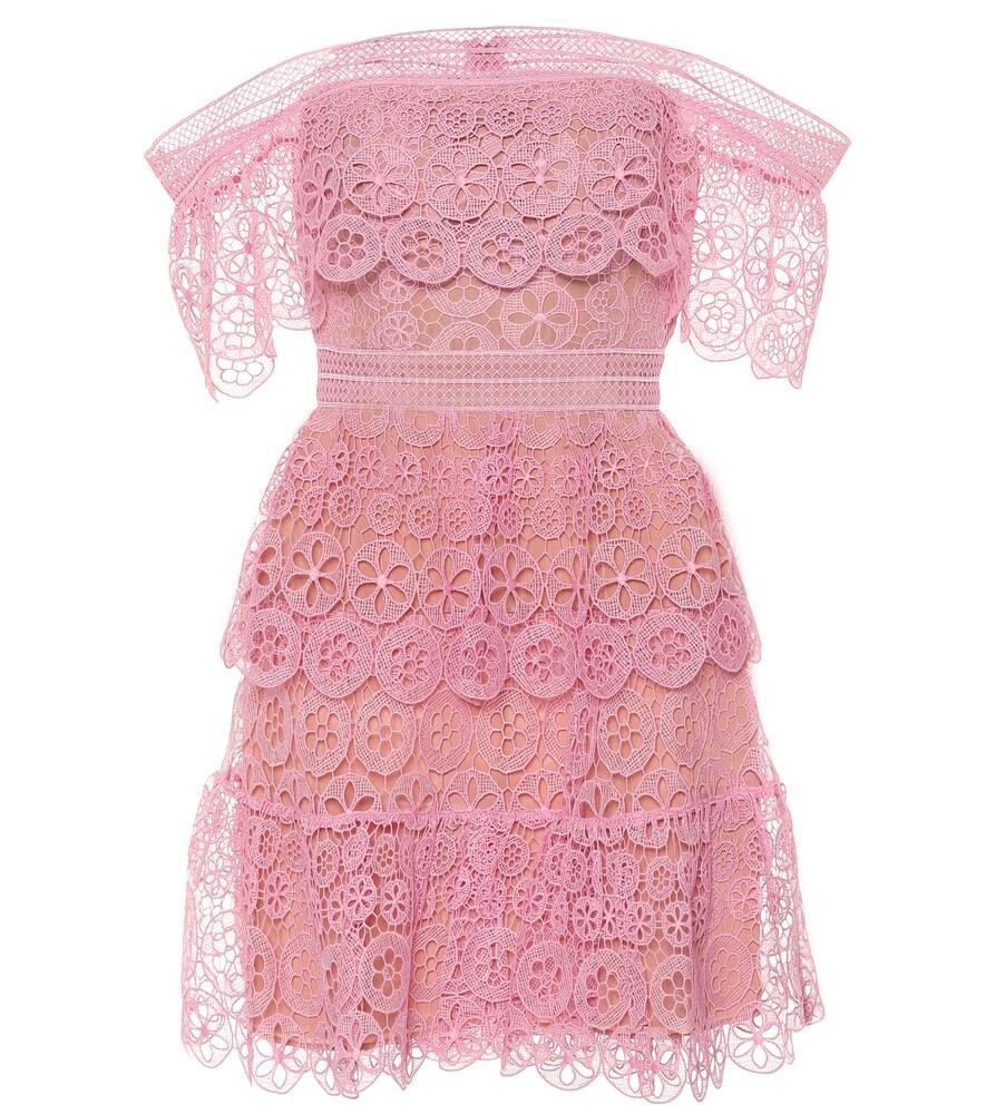 a72394d410e90 Self-Portrait Off Shoulder Circle Lace Dress In Pink