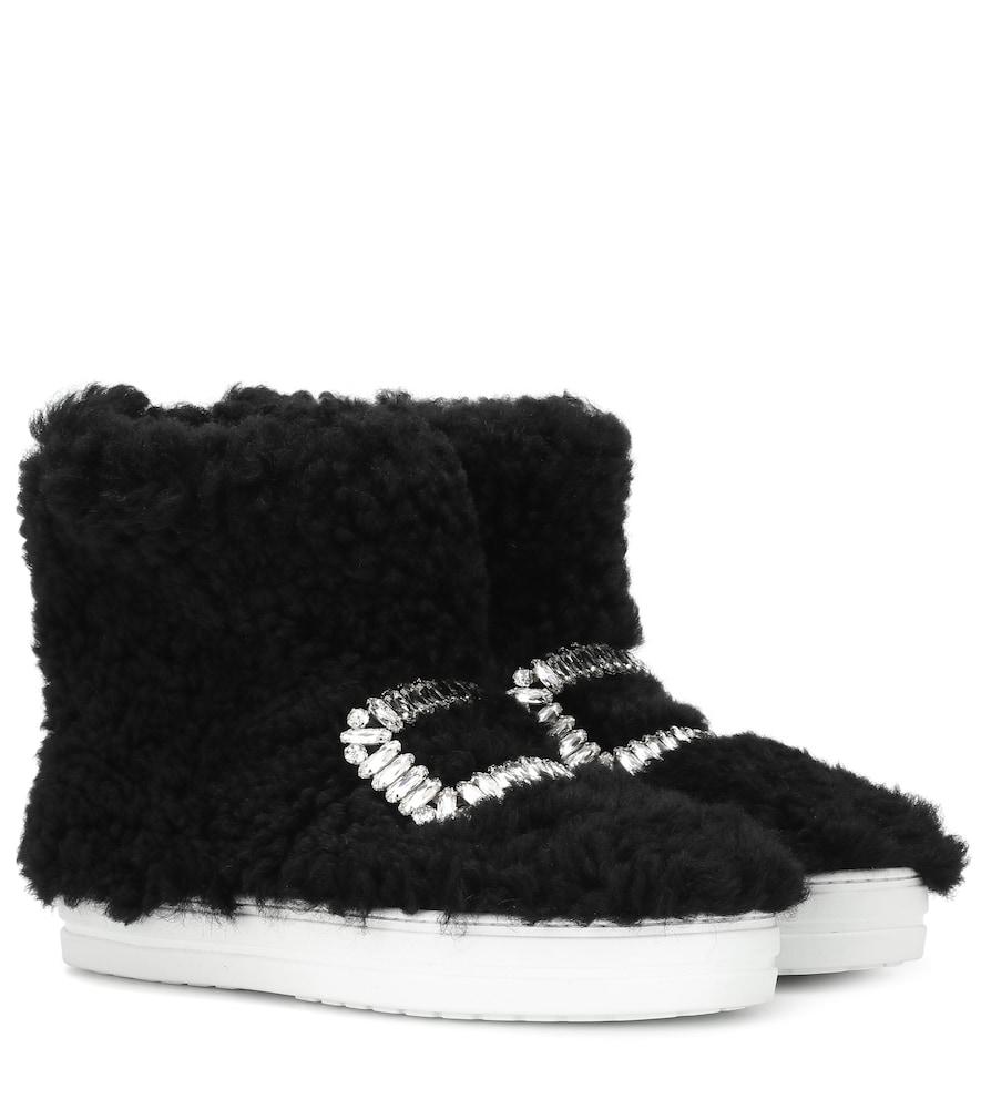 20Mm Sneaky Viv Shearling Sneaker Boots in Black