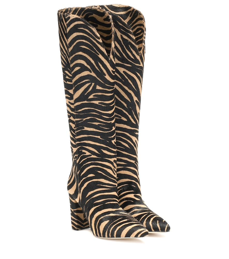 Paris Texas Pony High Boot With Rounded Edge In Beige Zebra