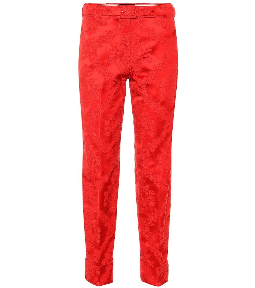 Pantalon en jacquard de coton mélangé