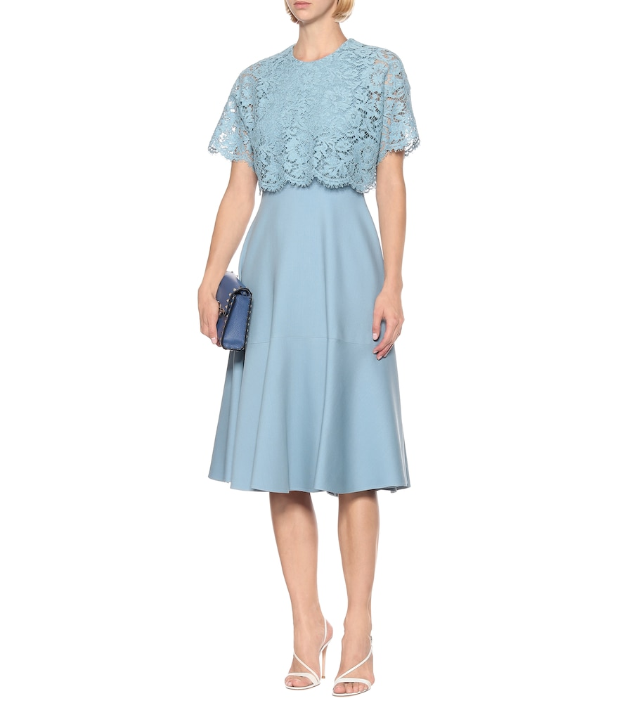 Lace-trimmed silk and wool midi dress by Valentino