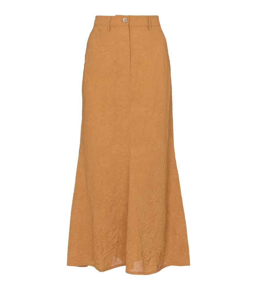 Bri crinkled sateen midi skirt