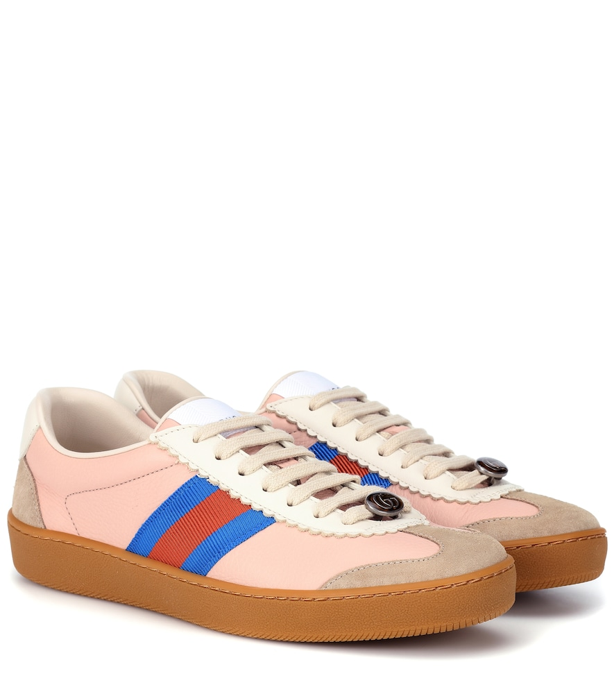 WEB STRIPED LEATHER SNEAKERS