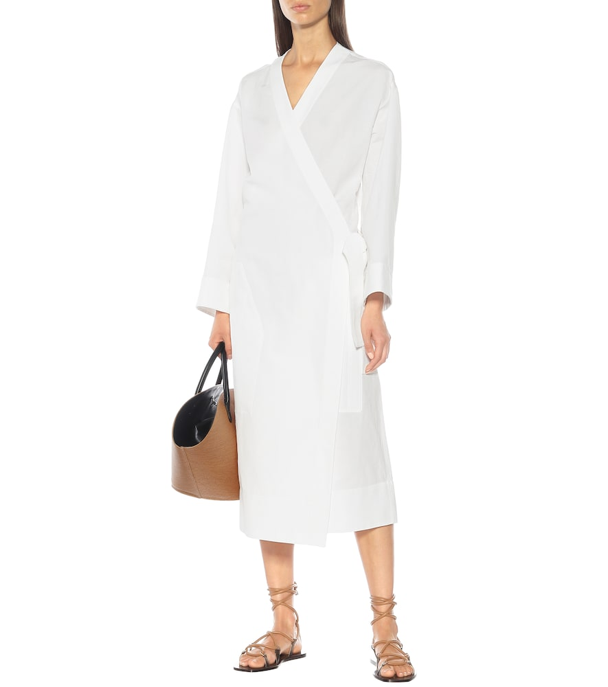 Exclusive to Mytheresa - Cotton and linen wrap dress by Jil Sander
