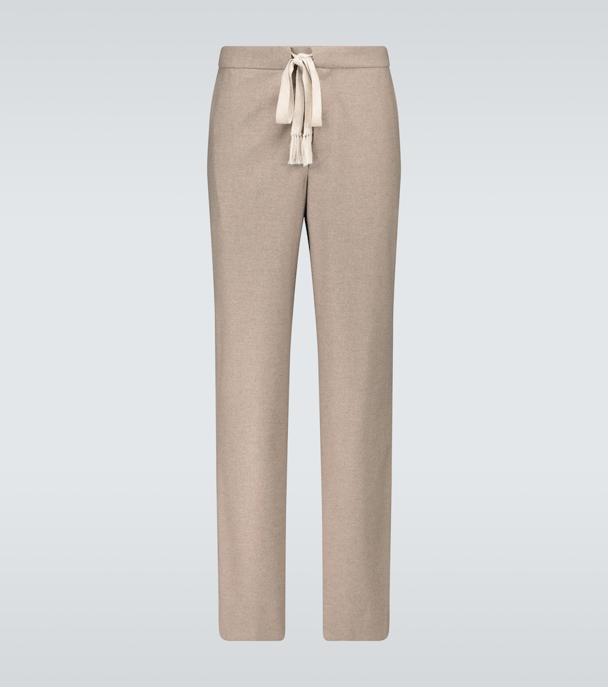 Wool flannel drawstring pants