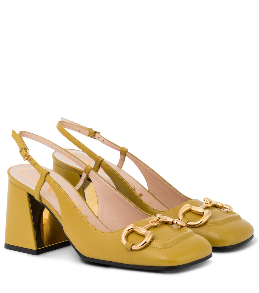 Gucci Horsebit Leather Pumps In Yellow