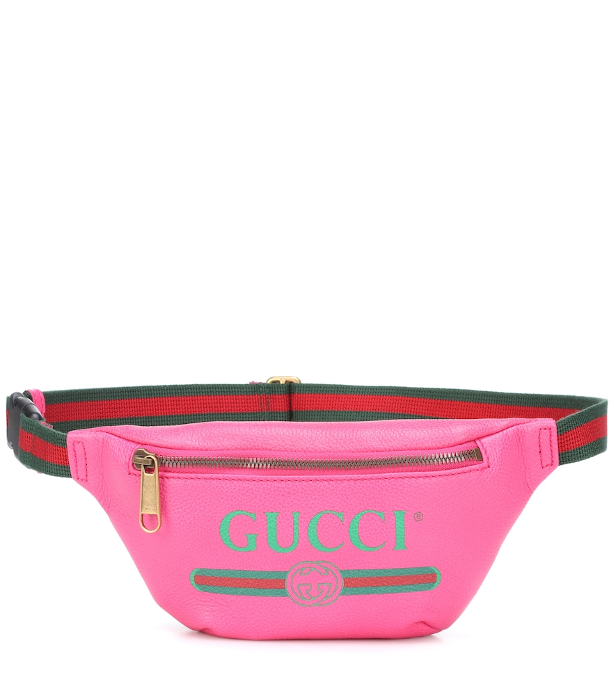 GUCCI -PRINT SMALL LEATHER BELT BAG, PINK | ModeSens